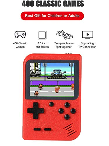 OMKARSY Handheld Retro Games Consoles with 400 NES FC Games, Portable 3 Inch Game machine with 800mAh Rechargeable Battery, TV AV Video Output, Best gift for kids or adults Gift (red)