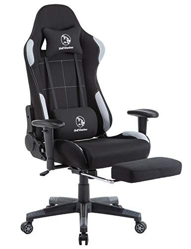 Gaming Chair Ergonomic Computer Game Chair Seat Height Adjustment Recliner Swivel Rocker E-Sports Office Chair with Headrest and Lumbar Pillow (Fabric, Grey/Black with Footrest) chair gaming