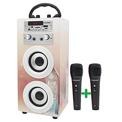 DYNASONIC (3º Generación Modelo 2021) Karaoke con micrófono, micrófono Karaoke para Cantar Incluido (Dos), Altavoz Bluetooth Modelo Multicolor LED