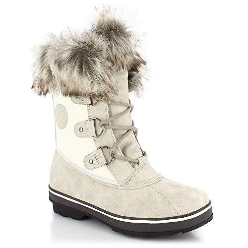 Buty śniegowe damskie, rozmiar 37, kolor kości słoniowej