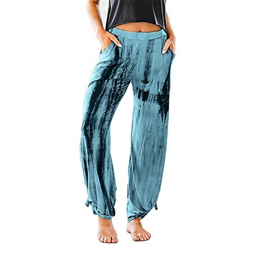Damenhosen Herbst und Winter Neue hohe Taille der Frauen, die beiläufige große lose gebatikte Freizeithosenhose für Frauen mit weitem Bein abnimmt