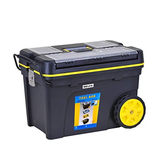 MEIJIA Caja de almacenamiento portátil para herramientas rodantes, organizadores con ruedas y bandeja desmontable, negro y amarillo, 62 x 37 x 42 cm