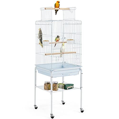 Yaheetech Gabbia per Uccelli Pappagalli Calopsite con Piedistallo in Metallo con Tetto Apribile 46x46x119cm Bianco