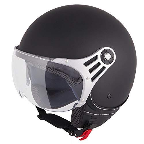 Vinz Stelvio Jethelm Roller Helm Fashionhelm   In Gr. XS-XL   Jet Helm Uni Colour   ECE Zertifiziert   Motorradhelm mit Visier   Schwarz Matt