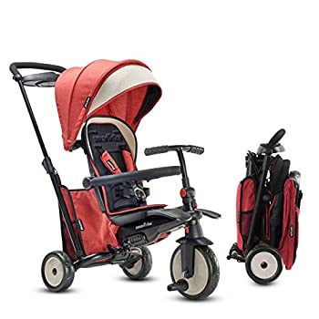 smarTrike STR5 Folding Toddler Bike Tricycle Stroller Push – Adjustable Trike for Baby Boys and Girls Ages 9 Months to 3 Years - 7 in 1 Multi-Stage Trike Red Melange