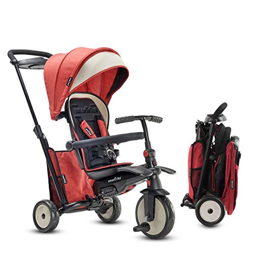 smarTrike STR5 Folding Toddler Bike Tricycle Stroller Push – Adjustable Trike for Baby Boys and Girls Ages 9 Months to 3 Years - 7 in 1 Multi-Stage Trike, Red Melange