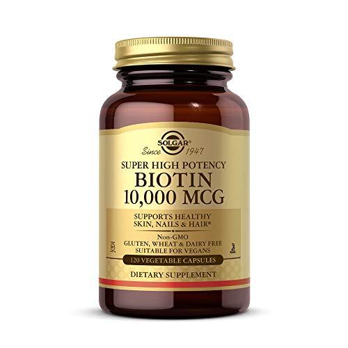 Solgar Biotin 10,000 mcg, 120 Vegetable Capsules - Energy, Metabolism, Promotes Healthy Skin, Nails & Hair - Super High Potency - Non-GMO, Vegan, Gluten Free, Dairy Free, Kosher - 120 Servings