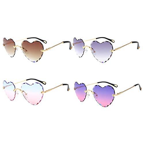 Harilla 4X Gafas de Sol en Forma de Corazón de Estilo Vintage Gafas con Lentes Tintadas Clásicas UV 400