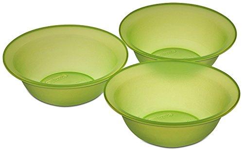 4SGM Sterilite 3 Pack 20oz Green Glaze Bowls