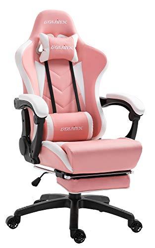 Dowinx Gaming Stuhl Ergonomischer Racing Stil Lehnstuhl mit Massage Lordosenstütze, Büro Sessel für Computer-PU-Leder-E-Sport-Gamer...