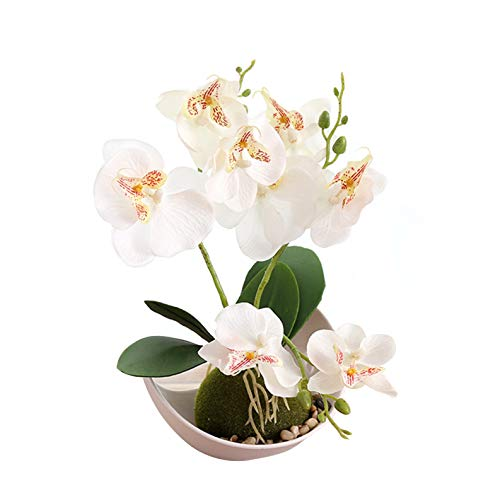 Flikool 3 Ramas Orquídeas Artificiales con Maceta in Plástico Bonsai de Phalaenopsis Flores Artificial Plantas Artificiales de Flor Mariposa para Hogar Balcón Partido Oficina Decoración - Blanco