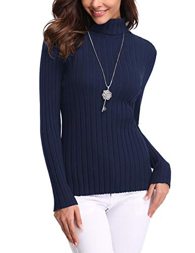 Aibrou Jersey de Mujer Sólido Ligero Suave Elástico Manga Larga Pull-Over Suéter Jersey de Cuello Alto