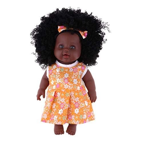 Backbayia 30cm Vinyl Lebensechte Babypuppe Afrikanischen Mädchen Puppen mit Kleidung für Kinder Rollenspiele Spielzeug