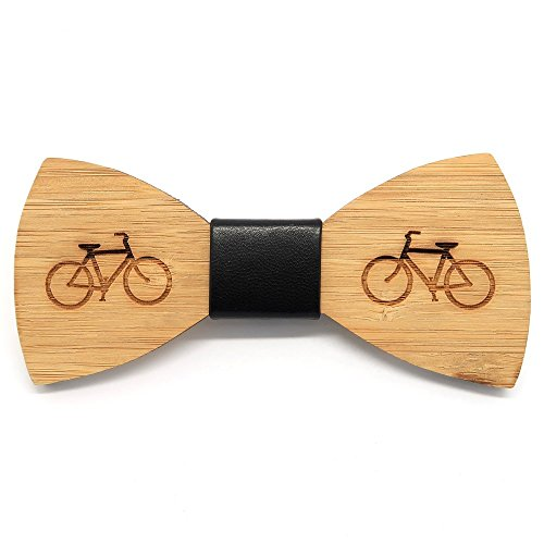 BOBIJOO Jewelry - In legno di bambù su Papillon uomo tendenza bici verde in pelle fatti a mano