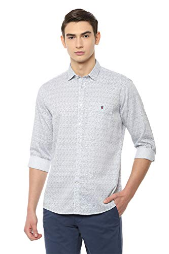 Louis Philippe Sport Men's Printed Slim fit Casual Shirt (LYSFCSLPS76845_White 40)