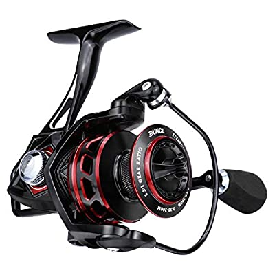 RUNCL Spinning Reel Titan II, Fishing Reel - Full Metal Body, Max Drag 44LB, 5 Carbon Fiber Washers, 9+1 Shielded Ball Bearings, Braid-Ready Spool, Hollow Out Rotor - Saltwater & Freshwater Fishing