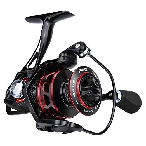 RUNCL Spinning Reel Titan II 2000, Fishing Reel - Full Metal Body, Max Drag 44LB, 5 Carbon Fiber Drag Washers, 9+1 Stainless Steel Shielded Bearings, Hollow Out Rotor - Saltwater & Freshwater Fishing
