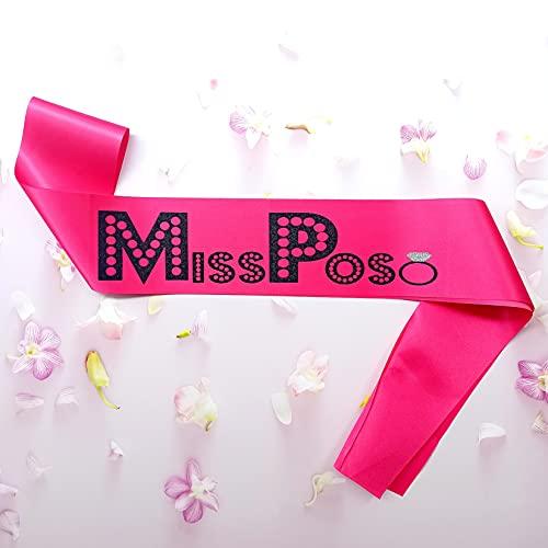 Fascia MissPoso Addio al Nubilato in Raso Rosa Glitter Nero Diamante, Futura Sposa, Matrimonio Bride to be Sash for Future Mrs