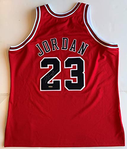 Michael Jordan Autographed Red Chicago Bulls Jersey Upper Deck Authentication UDA coa