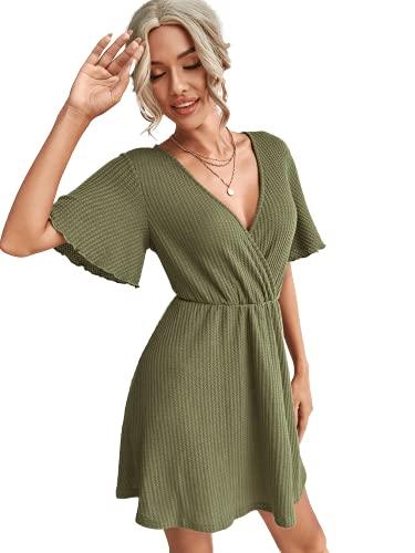 Romwe Women's Short Sleeve V Neck All Over Print High Waist A Line Summer Short Dress Army Green S
