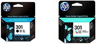 HP 301 Pack de 2 Cartouches d'Encre Noire/Trois Couleurs Authentiques pour HP Envy 4505 et HP deskjet 1050/1512/2548/3057A