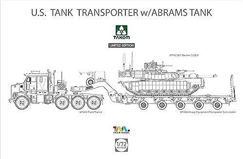 TAKOM TKO5002X Modellbausatz U.S. Tanktransporter w Abrams Tank, Mehrfarbig