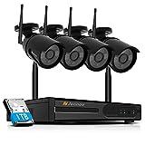 Kit de Caméra Sécurité sans Fil HD 1080P Système de Vidéo Surveillance Jennov 4CH WiFi NVR/DVR Enregistreur et 4pcs IP CCTV Caméras Extérieures/Intérieures , IP66 Etanche, 1TB Disque Dur Inclus