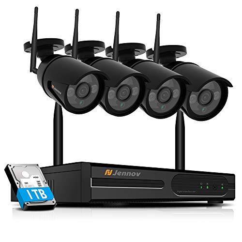 Jennov 1080P 4CH Überwachungskamera System Wireless Full HD NVR IP 4 x wasserdichte Funkkameras Videoüberwachung mit 1TB Festplatte Bewegungsmelder Fernzugriff IR Nachtsicht Haus Outdoor Außen schwarz