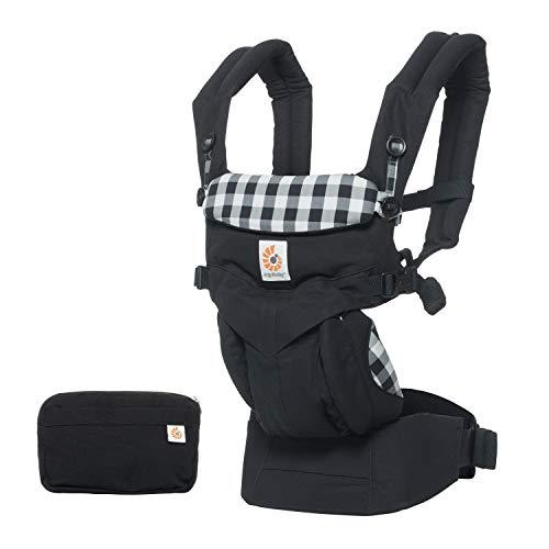 Ergobaby babydrager voor pasgeborenen, collectie Omni 4-posities baby-draagtas en kinderdraagtas, 3,2 tot 20 kg Premium katoen Gingham
