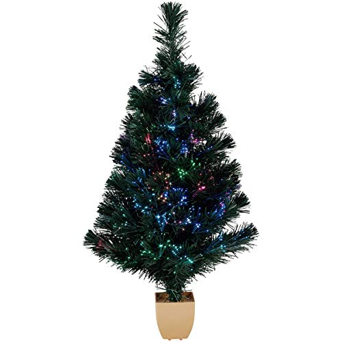 32' Green Fiber Optic Color Changing Artificial Christmas Tree LED Lights