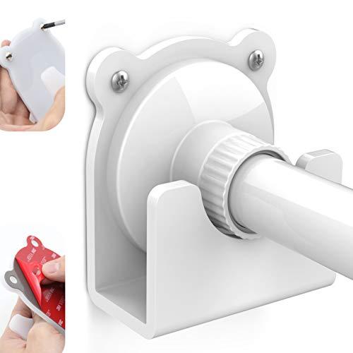 2 Pack Shower Curtain Rod Holder, Universal Cartoon Style Acrylic 3M Adhesive Wall Mount Holder for Shower Curtain Rod (Shower Curtain Rod Not Included) (White)