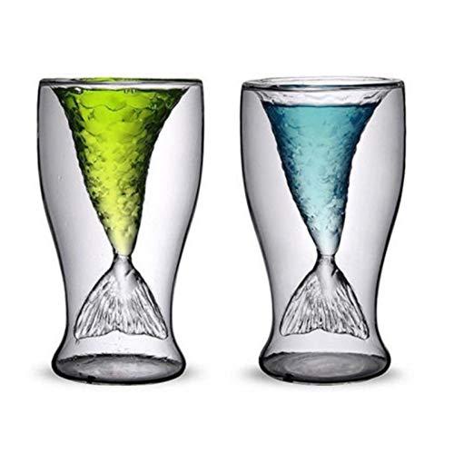 K-Park Copa de cristal doble sirena 100ml innovación simple idea cristal transparente cóctel cristal moda