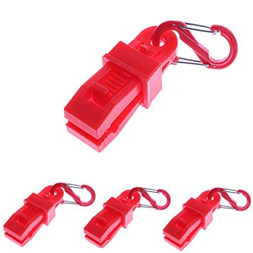 MagiDeal 4pcs Clip De Serrage Bâche avec Mousqueton Pince Attache Tante Outil Survie Plastique Rouge