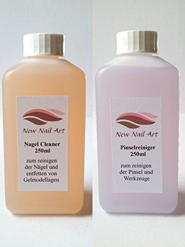 NEW Nail Art Lot de 250 ml Cleaner pour enlever la couche de sudation + 250 ml nettoyant pour pinceaux 0,25 l Dissolvant Accessoires Ongles Design d'entretien