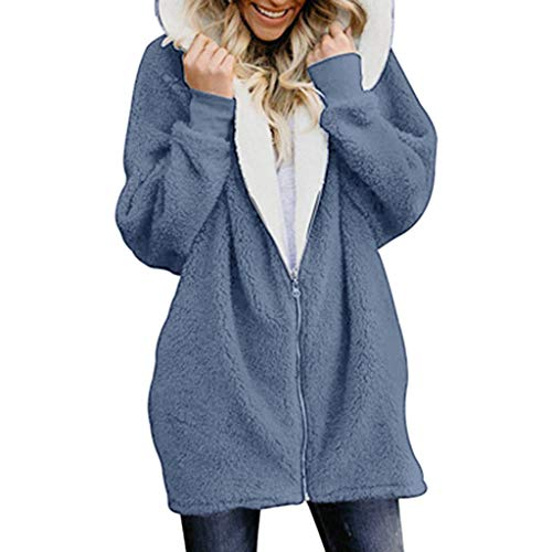 Lialbert Damen Mantel Teddy-Fleece Winter Kapuzenpullover Oversize Plüschjacke mit Kapuze Cardigan Langarm Outwear Sexy Parka Trench Coat Lang Kapuzenjacke Große Größen