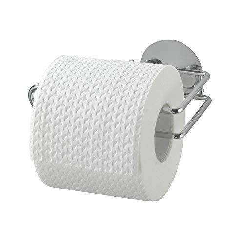 WENKO Turbo-Loc® Toilettenpapierrollenhalter - Befestigen ohne bohren, Stahl, 14 x 6 x 9 cm, Chrom