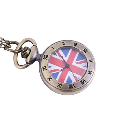Vaycally Neue Persönlichkeit Quarz Taschenuhr Mode Beleuchtung Kleine Taschenuhr Kleine Britische Flagge Römische Skala Mode Kreative Taschenuhr