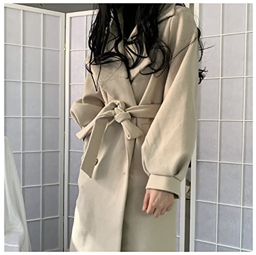 ShZyywrl Mujer Abrigo Abrigos Elegante Abrigo De Manga De Linterna con Cinturón Abrigo De Color Sólido Mujer Abrigo con Cuello Vuelto Abrigos De Mujer Talla