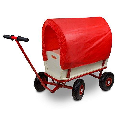 Bollerwagen aus Holz mit Dach, Luftreifen und Stahl-Gestell :: Transportwagen belastbar bis 100 kg