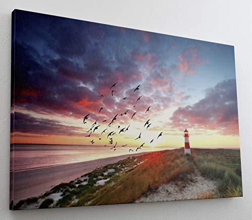Sylt Strand Leuchtturm Leinwand Canvas Bild Wandbild Kunstdruck L1477 Größe 70 cm x 50 cm