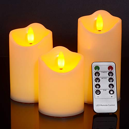 LED Pillar Candles, Ymenow (H 3.8' 4.8' 5.8') Set of 3 LED Flameless Flickering Candle with Remote Timer & 3D Flame for Home Wedding Holiday Party Decorations (Batteries Not Included) – Amber Yellow