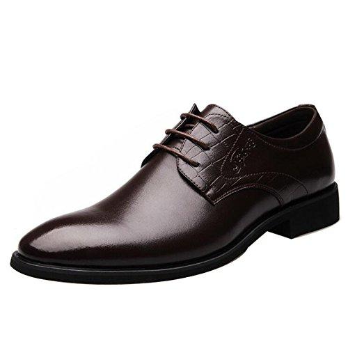 Sapato social masculino bico fino formal sapato casual sem salto Oxford cadarço, Marrom, 9