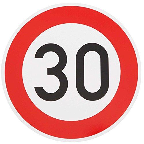 ORIGINAL Verkehrzeichen 30 KM/H Schild Nr. 274-53 Verkehrsschild Straßenschild Straßenzeichen Metall auch Gebutrtstagschild zum 30. Geburtstag als 30km Geburtstagsschild 42 cm Metall mit Folie-Typ1