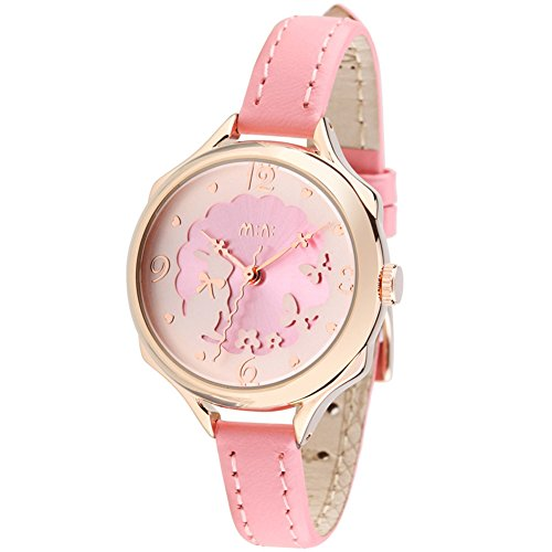 Fq-062 Cute Girl's Women's Wrist Watches,3D Bowknot Rabbit Butterfly Teenagers Wristwatch,Pink Leather Strap