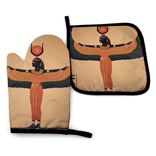 gfhfdjhf Guantes de Horno de 2 Piezas y Soporte de Olla Antiguo Egipto ISIS Goddess Impermeable Mitones de Horno de Cocina Almohadilla de Olla Resistente al Calor para Hornear Barbacoa