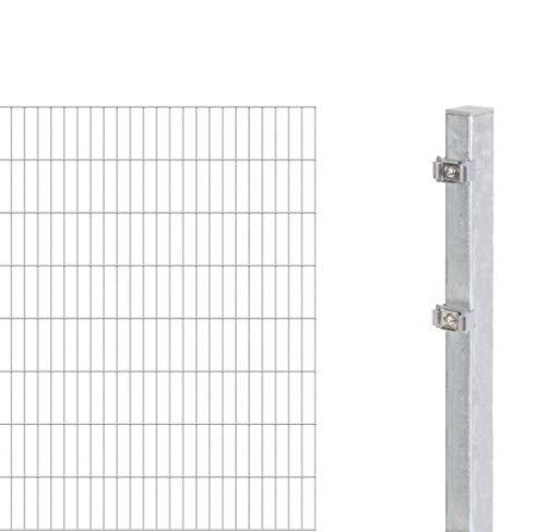 GAH-Alberts 643997 Erweiterung zum Doppelstabmattenzaun | verschiedene Höhen - wahlweise in verschiedenen Farben | feuerverzinkt | Höhe 160 cm | Länge 2 m