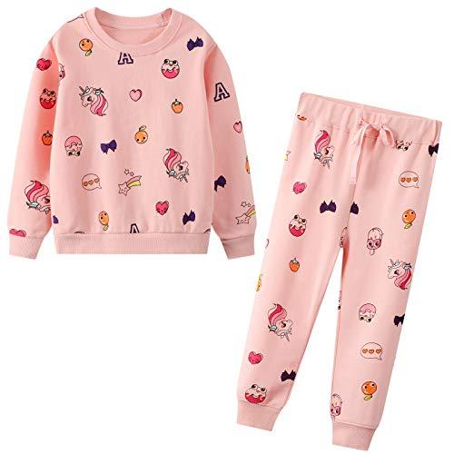 JinBei Trainingsanzug für Mädchen Einhorn Pferd Jogginganzug Pullover Anzug Sweatshirt & Hosen Set Baumwolle Rosa Sportanzug Kleidungssätze Alter 2-7 Jahre