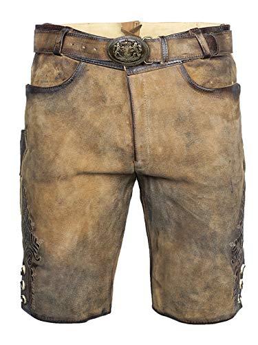 MADDOX Lederhose kurz Faelo zirbe antik | Weiches Ziegenvelour-Leder | Kurze Herren-Lederhose mit Reißverschluss und Gürtel | Gute Qualität (50)