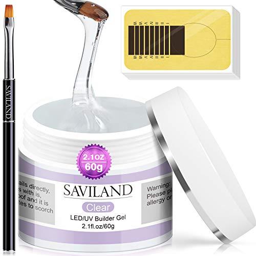 Saviland 60ml Gel Uñas Kit - Clear Nail Extension...
