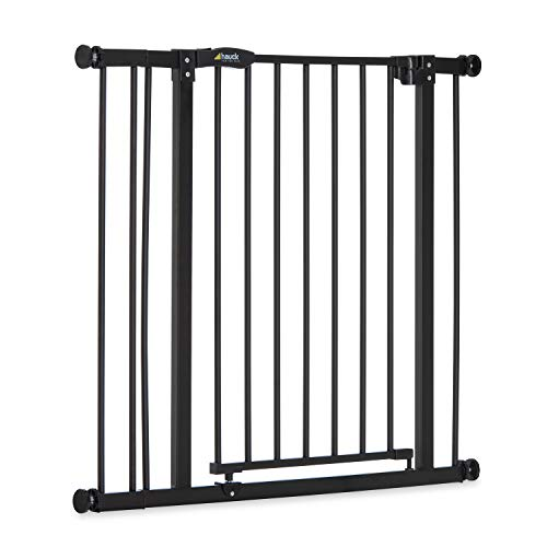 Hauck Barrera de Seguridad de Niños para Puertas y Escaleras Close N Stop Safety incl. Extension 9 cm, Sin Agujeros, 84 - 89 cm, Metal, Negro